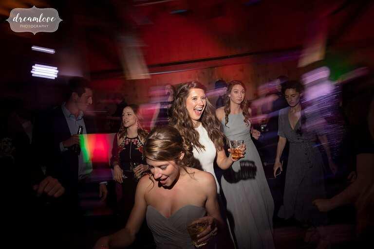 Wild dancing at Devil's Thumb Ranch wedding reception.