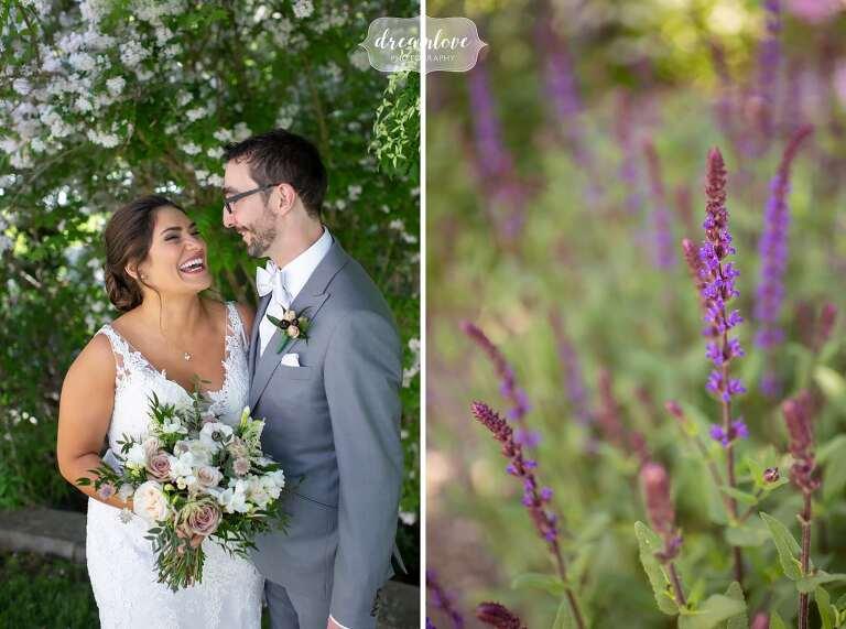 Happy wedding photographer captures bride and groom at Bradley Estate.