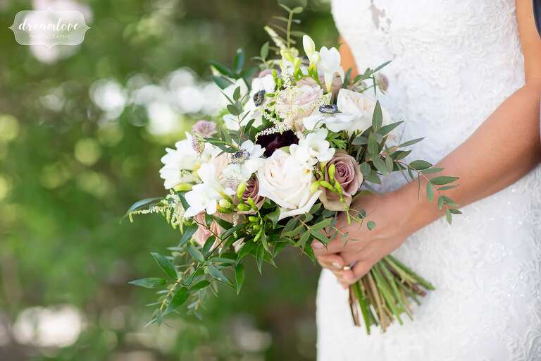 Summer wedding bouquet with blush colors at Bradley Estate.