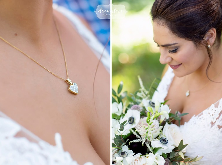 Fashion wedding portraits of bride with heart shaped necklace.
