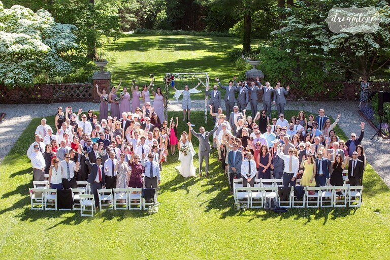 Whole wedding guest photo at Bradley Estate.