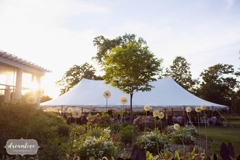 Sunset over reception tent at Bradley Estate.