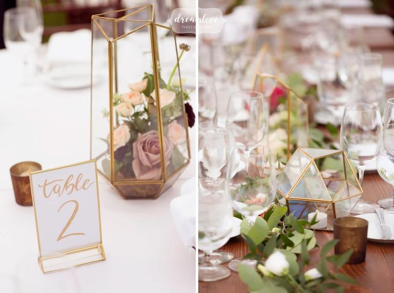 Gold and glass terrarium table decor at Bradley Estate.