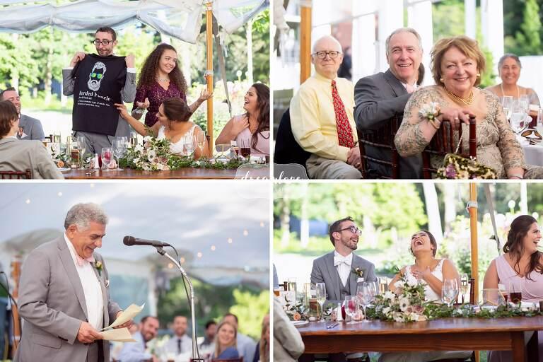 Funny speeches at Bradley Estate wedding.