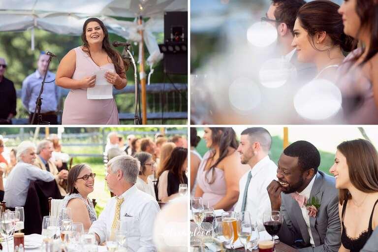 Fine art wedding photographer captures speeches at Bradley Estate.