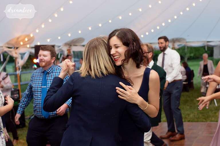 Gay couple dancing at Bradley Estate wedding.