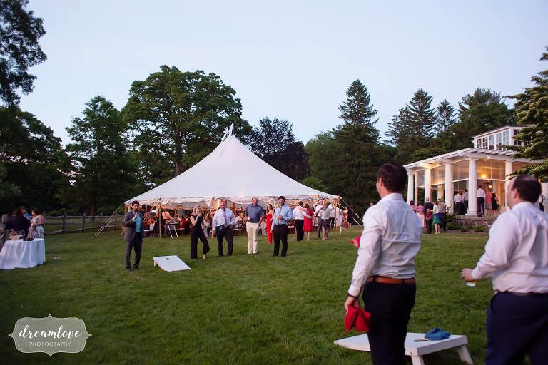 Lawn games reception tent at Bradley Estate.