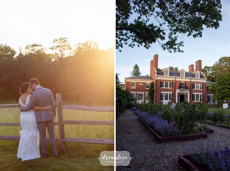 Sunset photos of bride and groom at Bradley Estate.