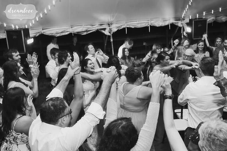 Traditional Jewish dance of the hora is done at Bradley Estate.
