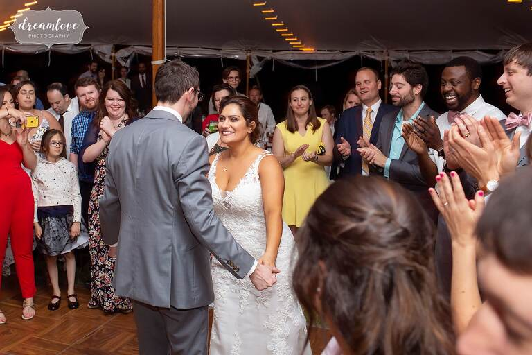 Romantic bride groom dance at Bradley Estate reception.