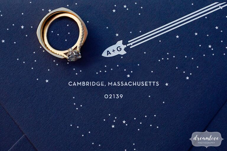 Boston celestial wedding theme invitations with rings.