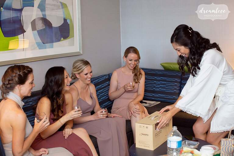 Girls receive gifts from the bride at the Hotel Sonesta.