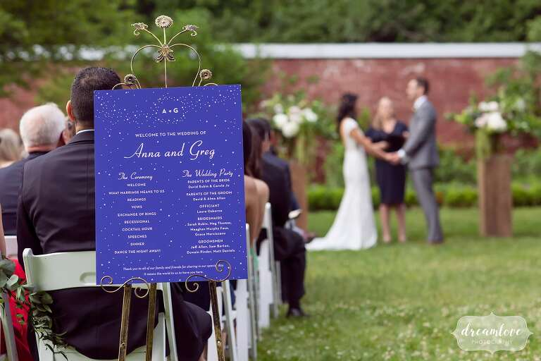 Celestial themed outdoor wedding at Boston estate.