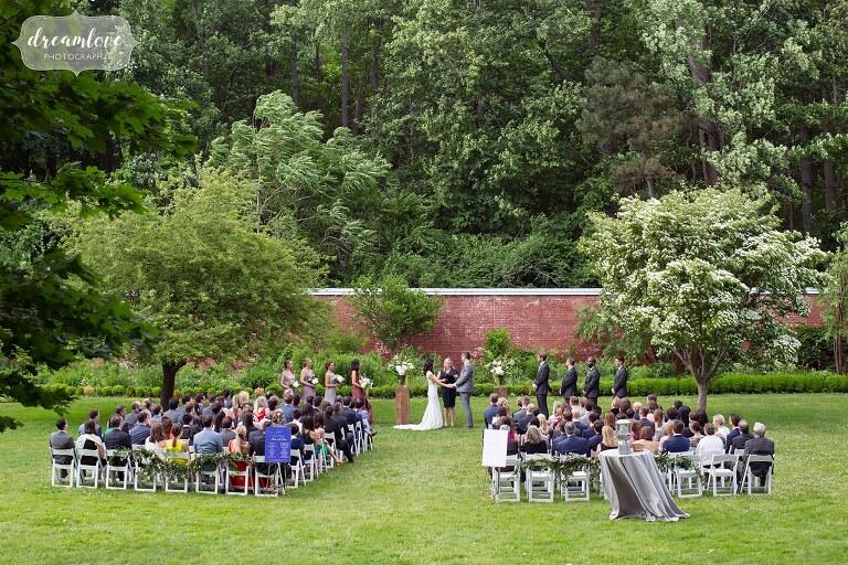 Outdoor ceremony space in garden at Lyman Estate in Waltham, MA.
