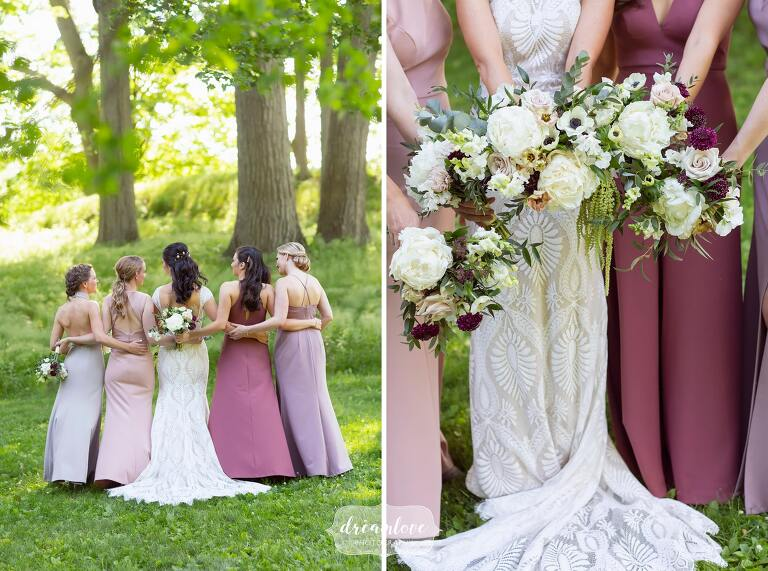 Bridesmaids in pink and purple ombre dresses at Lyman Estate.