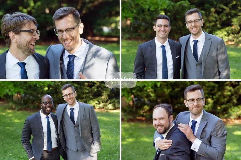 Individual fun groomsmen portraits at Lyman Estate.