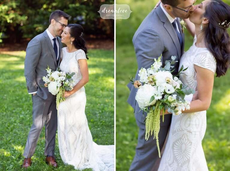 Bride and groom portraits kissing at Lyman Estate.
