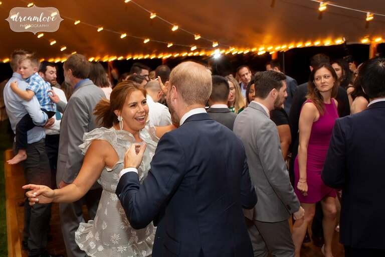 Wild dancing at Lyman Estate reception.