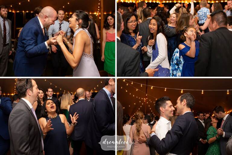 Guests lip sync to songs at Lyman Estate wedding.