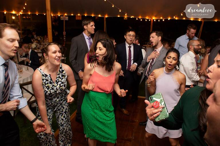 Colorful guests at Lyman Estate wedding reception.
