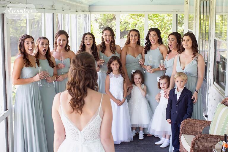 Bridesmaids see bride at 211 Argilla Road House with north shore wedding photographers documenting the day.
