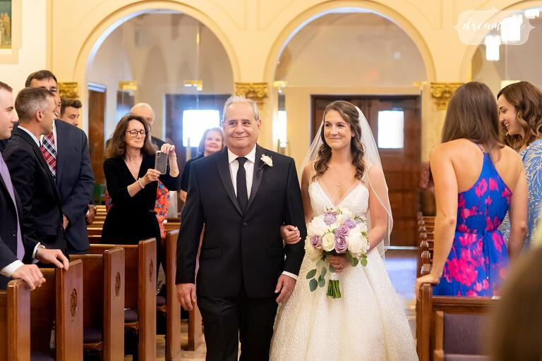 Bride and her father enter St. Mary's for wedding.