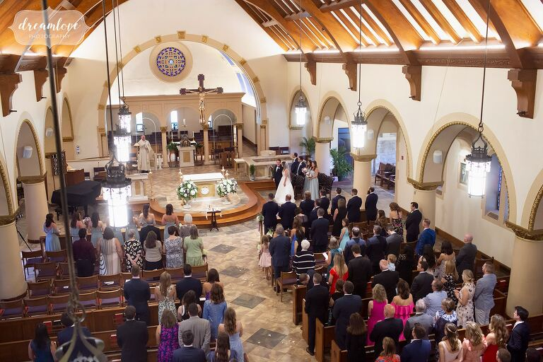 Inside of St. Mary's Church in Danvers, MA during wedding.