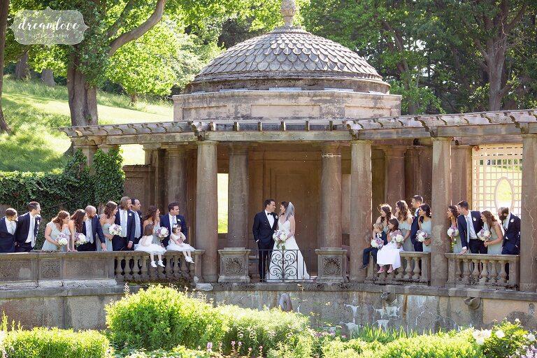 Wedding party in the Italian Garden at the Crane Estate.