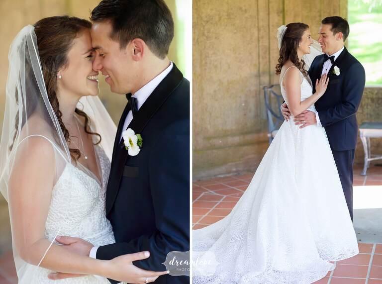 Romantic bride and groom photos at Crane Estate.