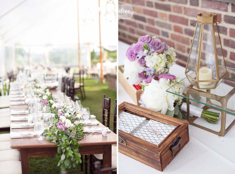 Rustic wedding decor by Fireside Catering at Ipswich MA wedding.