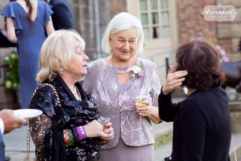 Guests enjoying coastal wedding in Ipswich MA.