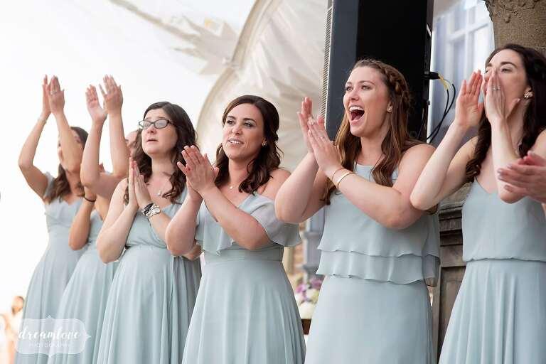 Bridesmaids cheer at first dance at Ipswich MA wedding.