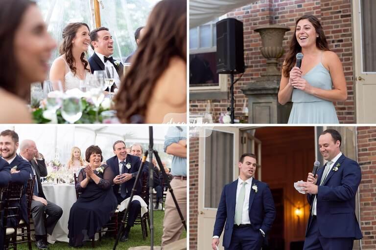 Speeches at the Crane Estate wedding.