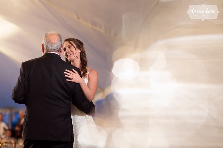 Creative wedding photography of bride dancing with dad in Ipswich, MA.