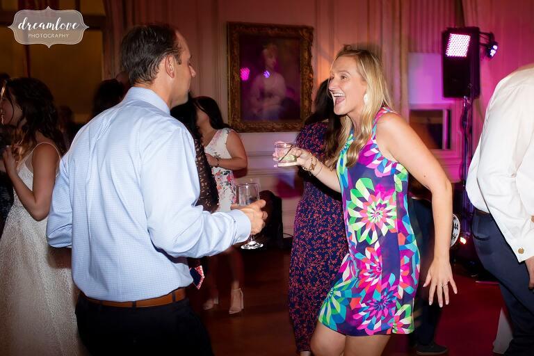 Guests dance at Crane Estate wedding.
