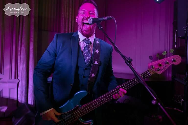 Bearfight band performs at Crane Estate wedding.