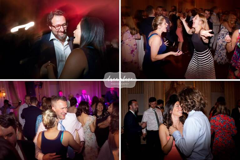Guests dance at Great House wedding in Ipswich MA.