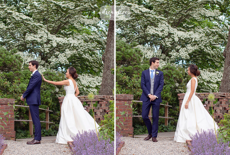 Bride and groom have first look at Bradley Estate in garden.