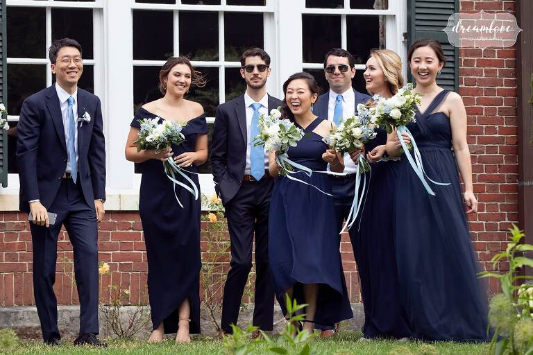 Wedding party watches first look at Bradley Estate.
