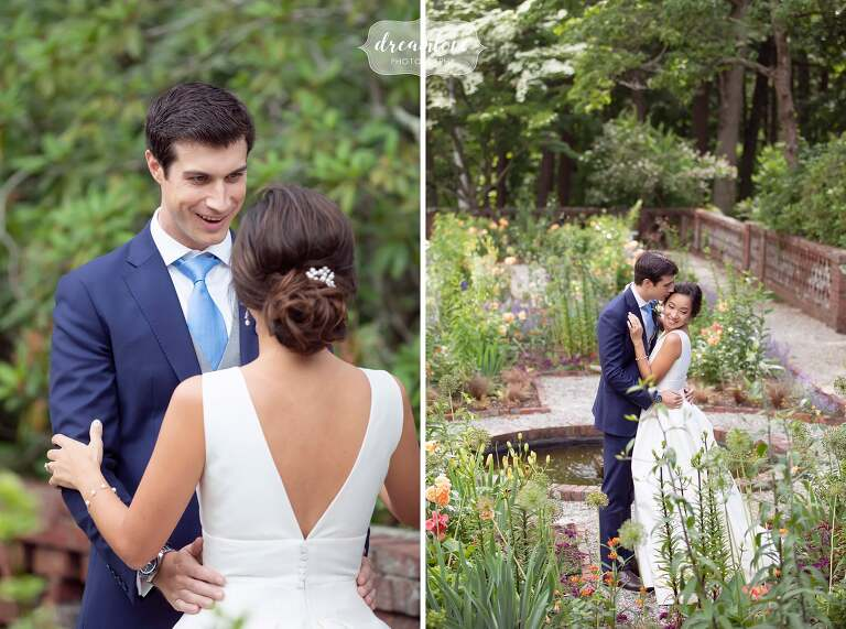 Bride and groom kiss in the gardens at the Bradley Estate in Canton, MA.