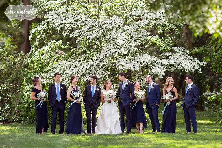 Wedding party in the garden at this south shore Boston wedding.
