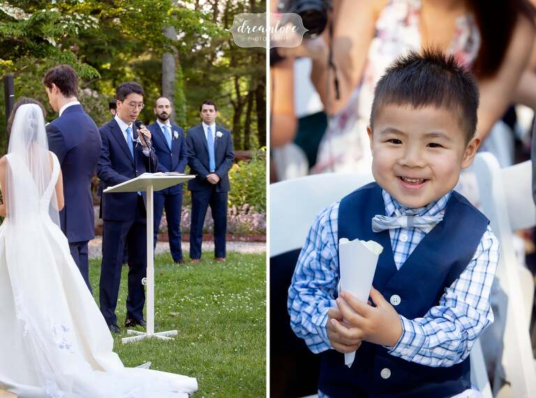 Cute ring bearer holds cone of flower petals at Bradley Estate.