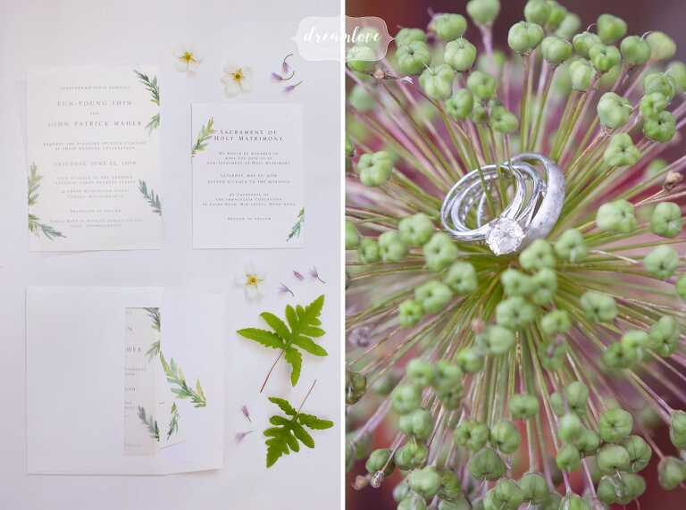 Artistic wedding ring set in alium photos at the Bradley Estate.