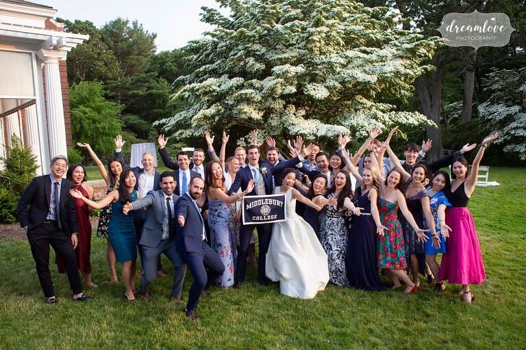 Wellesley flag banner photo Bradley Estate wedding.