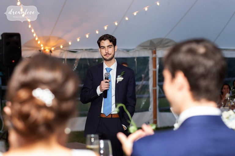 Best man gives toast at Bradley.