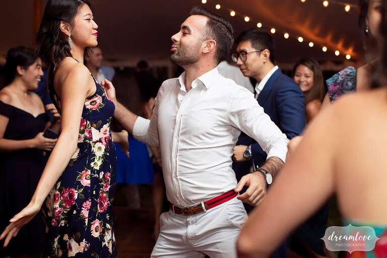Guests have fun dancing at Bradley Estate wedding.