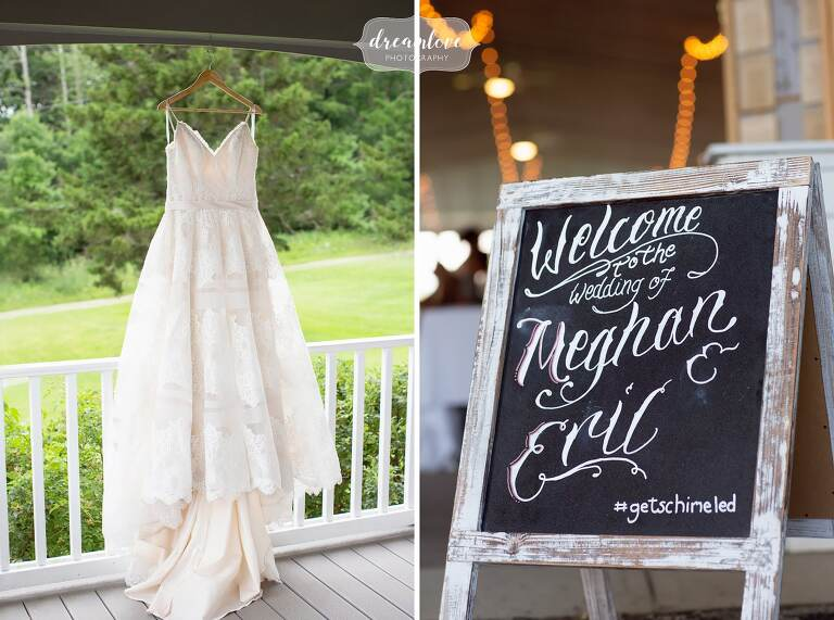 Bride's dress hangs at this rustic western Mass venue on the porch.
