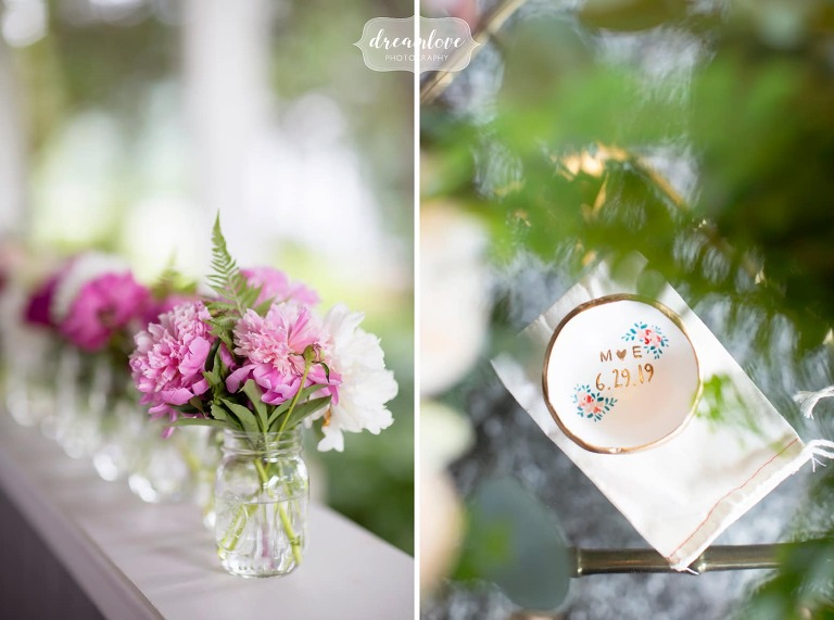 Anthropologie style wedding details for this rustic western Mass wedding.