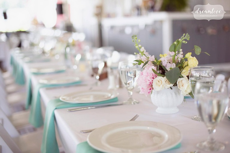 Pastel flowers and napkins at this western Mass wedding reception.