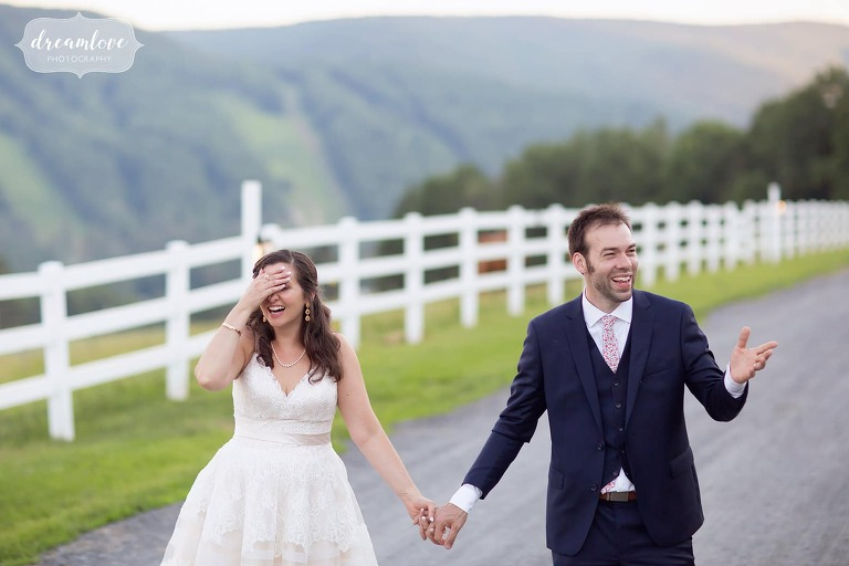 Best wedding photographer captures funny bride and groom at Western Mass wedding venue.